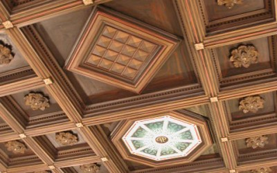 Faux wooden coffered ceiling