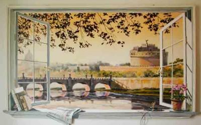 Trompe l'oeil window of Castel Sant'Angelo, Rome
