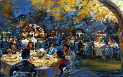 Dining under the olive trees