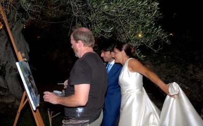 Showing the bride and groom